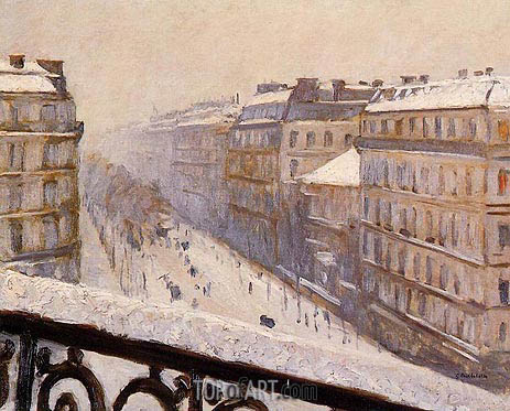 Boulevard Haussmann, Snow, c.1880 | Caillebotte | Painting Reproduction