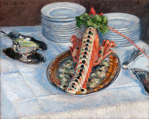 Still Life with Crayfish, c.1880/82 | Caillebotte | Painting Reproduction