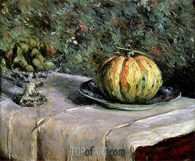 Melon and Fruit Bowl with Figs, c.1880/82 | Caillebotte| Painting Reproduction