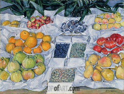 Fruit Displayed on a Stand, c.1881/82 | Caillebotte| Painting Reproduction