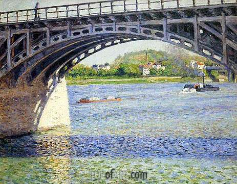 The Argenteuil Bridge and the Seine, c.1883 | Caillebotte | Painting Reproduction