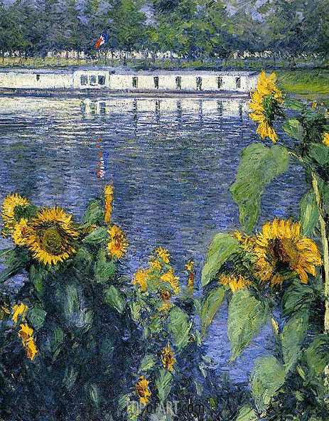 Sunflowers on the Banks of the Seine, c.1886 | Caillebotte | Painting Reproduction