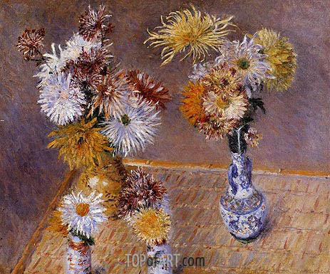 Four Vases of Chrysanthemums, 1893 | Caillebotte | Painting Reproduction