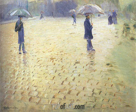 Paris Street Rainy Day, 1877 | Caillebotte | Painting Reproduction