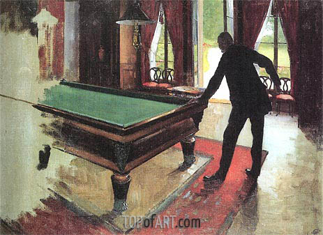 Billiards, 1875 | Caillebotte | Painting Reproduction