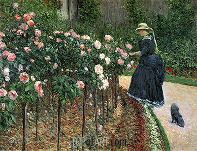 Roses in the Garden at Petit Gennevilliers, 1886 | Caillebotte| Painting Reproduction