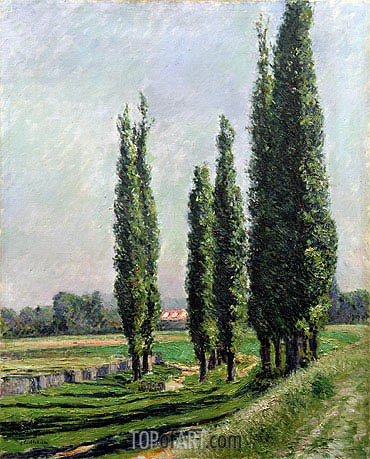 Poplars on the Riverbank at Argenteuil, undated | Caillebotte | Painting Reproduction