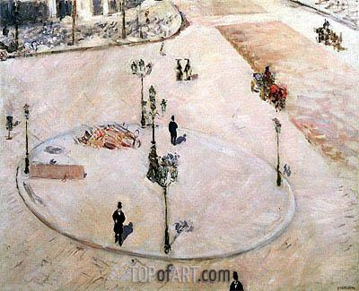 Caillebotte | Traffic Island on Boulevard Haussmann, 1880