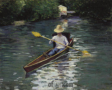 Canoe on the Yerres River, 1878 | Caillebotte| Painting Reproduction