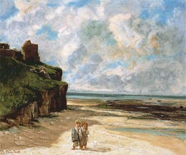 The Beach at Saint-Aubin-sur-Mer, 1867 by Courbet | Painting Reproduction