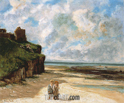 The Beach at Saint-Aubin-sur-Mer, 1867 | Courbet | Painting Reproduction