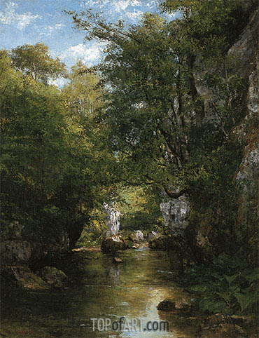 The Water Stream, La Breme, 1866 | Courbet | Painting Reproduction