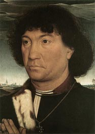 Portrait of a Man at Prayer before a Landscape, c.1480 by Hans Memling | Painting Reproduction