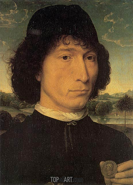 Portrait of a Man with a Roman Coin, c.1480 | Hans Memling | Painting Reproduction