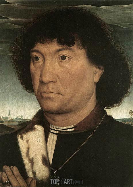 Portrait of a Man at Prayer before a Landscape, c.1480 | Hans Memling | Painting Reproduction