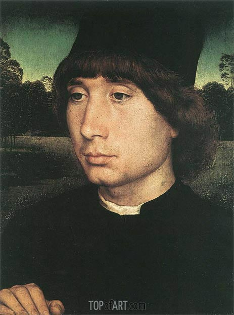 Portrait of a Young Man before a Landscape, c.1480 | Hans Memling | Painting Reproduction