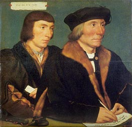 Portrait of Sir Thomas Godsalve and His Son John, 1528 by Hans Holbein | Painting Reproduction