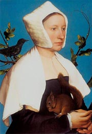 Portrait of a Lady with a Squirrel and a Starling, c.1527/28 von Hans Holbein | Gemälde-Reproduktion