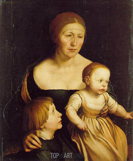 The Artist's Wife Elsbeth and her Two Children, c.1528 | Hans Holbein | Painting Reproduction