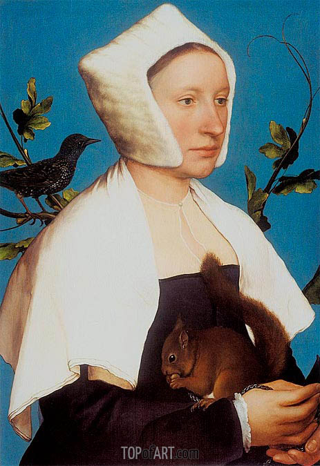 Portrait of a Lady with a Squirrel and a Starling, c.1527/28 | Hans Holbein | Painting Reproduction