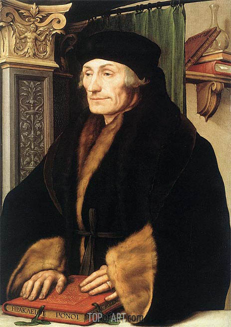 Portrait of Erasmus of Rotterdam, 1523 | Hans Holbein | Painting Reproduction