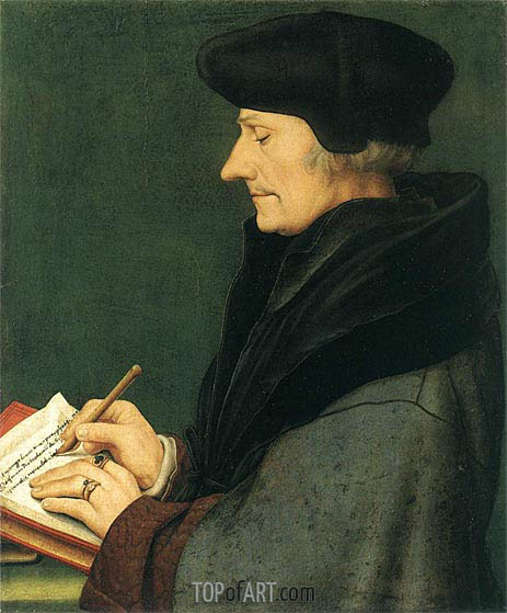 Hans Holbein | Portrait of Erasmus of Rotterdam Writing, 1523