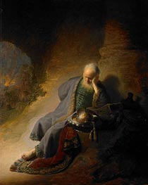 Jeremiah Lamenting the Destruction of Jerusalem, 1630 by Rembrandt | Painting Reproduction