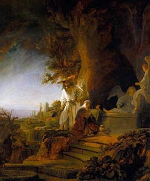 Christ and St Mary Magdalene at the Tomb, 1638 by Rembrandt | Painting Reproduction