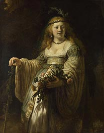 Flora (Saskia van Uylenburgh in Arcadian Costume), 1635 by Rembrandt | Painting Reproduction