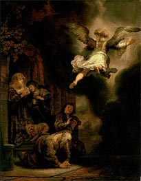 The Archangel Leaving the Family of Tobias, 1637 by Rembrandt | Painting Reproduction