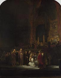 Christ and the Woman Taken in Adultery, 1644 by Rembrandt | Painting Reproduction