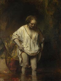 A Woman Bathing in a Stream (Hendrickje Stoffels), 1654 by Rembrandt | Painting Reproduction