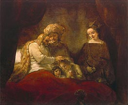 Jacob Blessing the Children of Joseph | Rembrandt | Gemälde Reproduktion