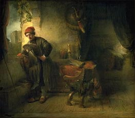 The Student (Standing Young Man at the Window in his Study Reading) | Rembrandt | Gemälde Reproduktion