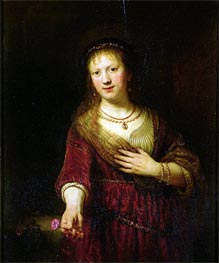 Saskia with a Red Flower | Rembrandt | Gemälde Reproduktion