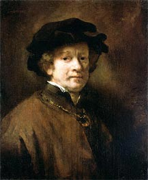 Self Portrait with Cap and Gold Chain | Rembrandt | Gemälde Reproduktion