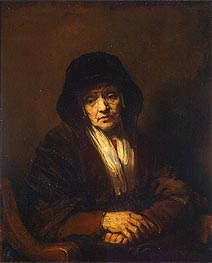 Portrait of an Old Woman, 1654 by Rembrandt | Painting Reproduction
