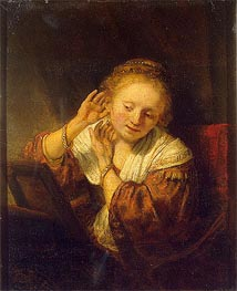 Young Woman with Earrings, 1657 by Rembrandt | Painting Reproduction