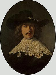 Portrait of a Young Man with a Lace Collar, 1634 by Rembrandt | Painting Reproduction