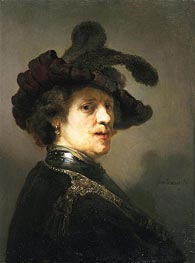 Portrait of a Man with Hat with Plume | Rembrandt | Gemälde Reproduktion