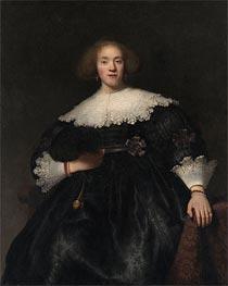 Portrait of a Young Woman with a Fan | Rembrandt | Gemälde Reproduktion