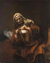 Old Woman Cutting Her Nails | Rembrandt | Gemälde Reproduktion