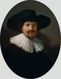 Portrait of a Man Wearing a Black Hat, 1634 by Rembrandt | Painting Reproduction