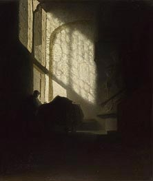 A Man Seated Reading at a Table in a Lofty Room | Rembrandt | veraltet