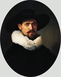 Portrait of a Bearded Man in a Wide-Brimmed Hat, 1633 by Rembrandt | Painting Reproduction