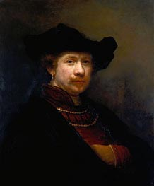 Self Portrait in a Flat Cap, 1642 by Rembrandt | Painting Reproduction