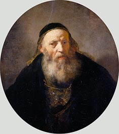 A Rabbi with a Cap, c.1635 by Rembrandt | Painting Reproduction
