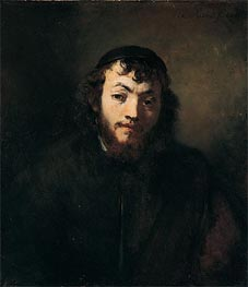 Bust of a Young Jew, Undated by Rembrandt | Painting Reproduction
