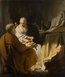 Two Old Men Disputing, 1628 by Rembrandt | Painting Reproduction