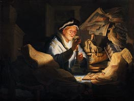 Moneychanger, 1627 by Rembrandt | Painting Reproduction
